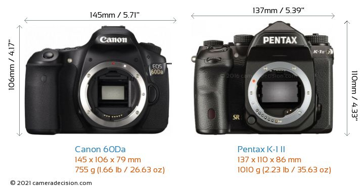 Canon 60Da vs Pentax K-1 II Camera Size Comparison - Front View