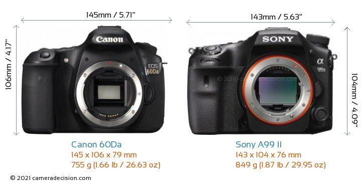 Canon 60Da vs Sony A99 II Camera Size Comparison - Front View