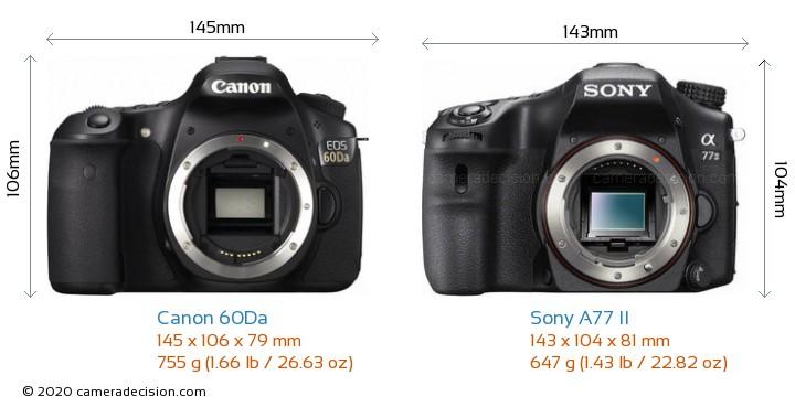 Canon 60Da vs Sony A77 II Camera Size Comparison - Front View