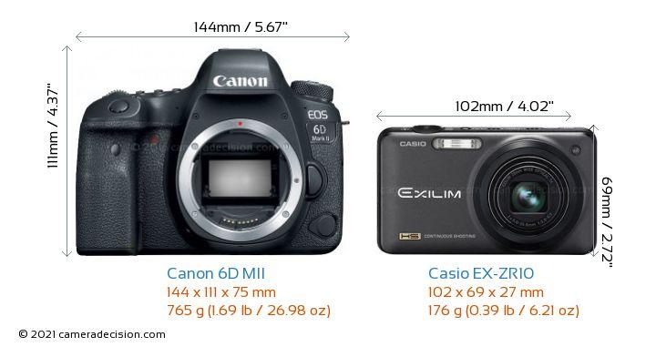 Canon 6D MII vs Casio EX-ZR10 Camera Size Comparison - Front View