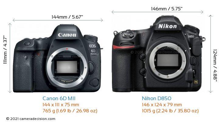 Canon 6D MII vs Nikon D850 Camera Size Comparison - Front View