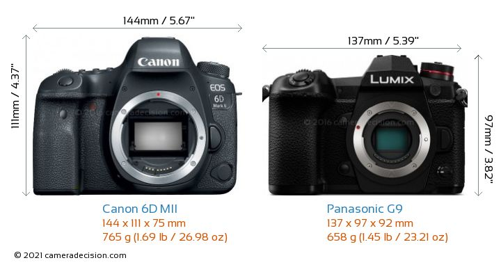 Canon 6D MII vs Panasonic G9 Camera Size Comparison - Front View