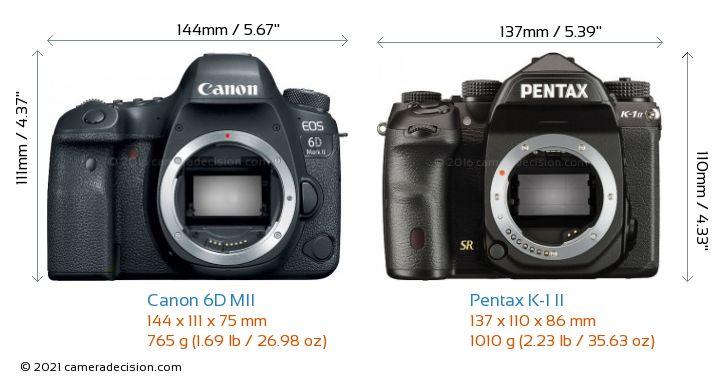 Canon 6D MII vs Pentax K-1 II Camera Size Comparison - Front View