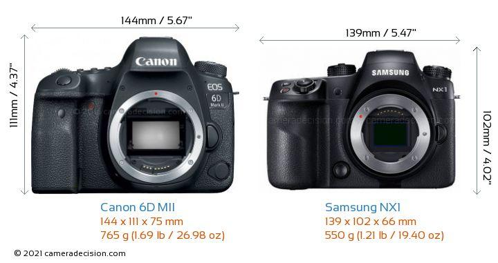 Canon 6D MII vs Samsung NX1 Camera Size Comparison - Front View