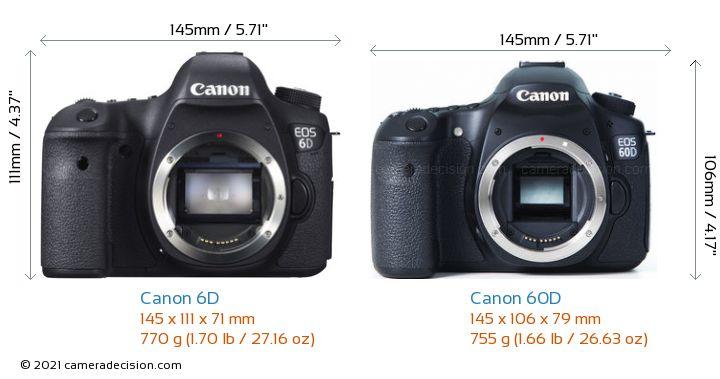 Canon 6D vs Canon 60D Camera Size Comparison - Front View