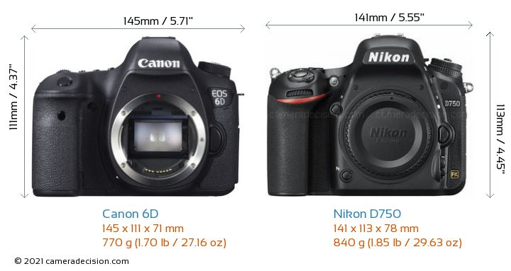Canon 6D vs Nikon D750 Camera Size Comparison - Front View