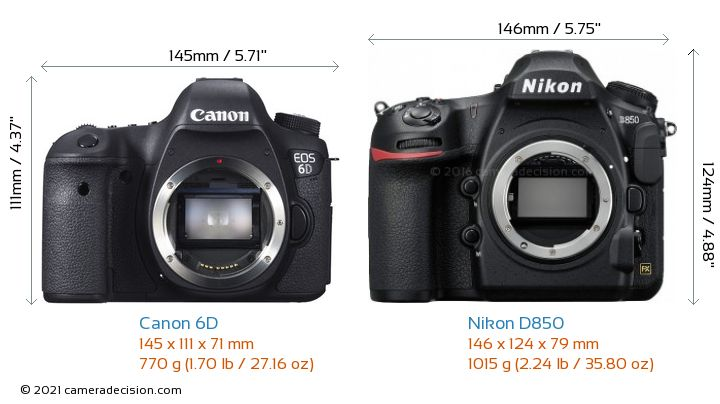 Canon 6D vs Nikon D850 Camera Size Comparison - Front View