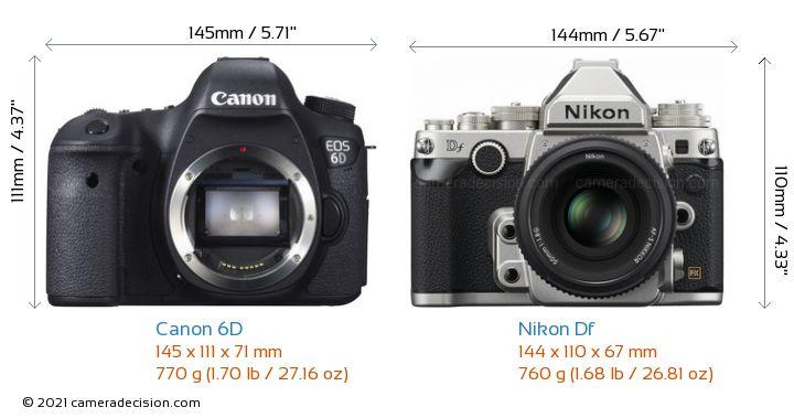 Canon 6D vs Nikon Df Camera Size Comparison - Front View