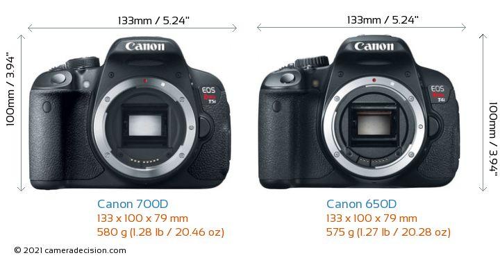 Canon 700D vs Canon 650D Camera Size Comparison - Front View