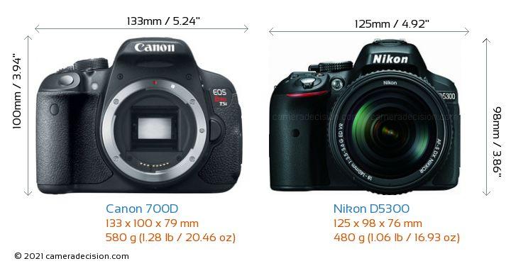 Canon 700D vs Nikon D5300 Camera Size Comparison - Front View