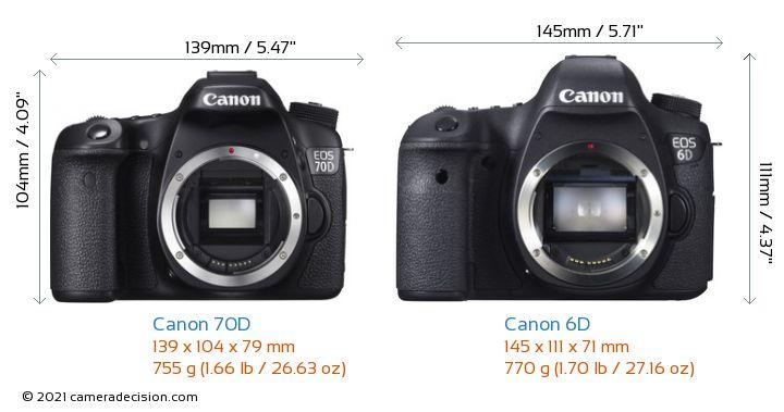 Canon 70D vs Canon 6D Camera Size Comparison - Front View
