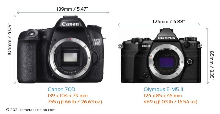 Canon 70D vs Olympus E-M5 II Camera Size Comparison - Front View