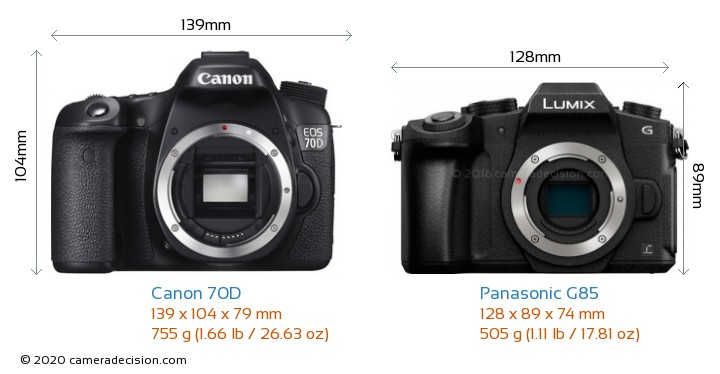 Canon 70D vs Panasonic G85 Camera Size Comparison - Front View