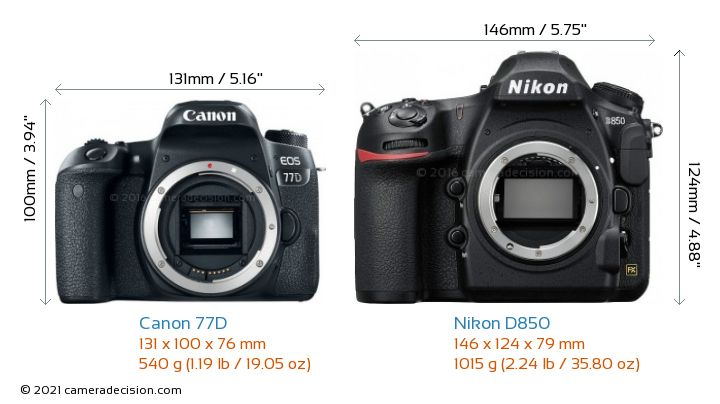 Canon 77D vs Nikon D850 Camera Size Comparison - Front View
