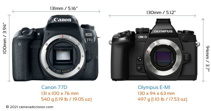 Canon 77D vs Olympus E-M1 Camera Size Comparison - Front View