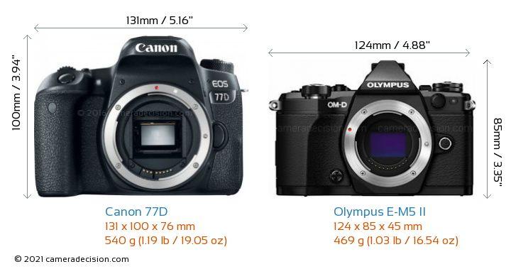 Canon 77D vs Olympus E-M5 II Camera Size Comparison - Front View