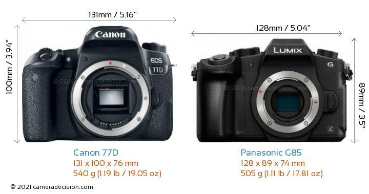 Canon 77D vs Panasonic G85 Camera Size Comparison - Front View