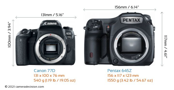 Canon 77D vs Pentax 645Z Camera Size Comparison - Front View