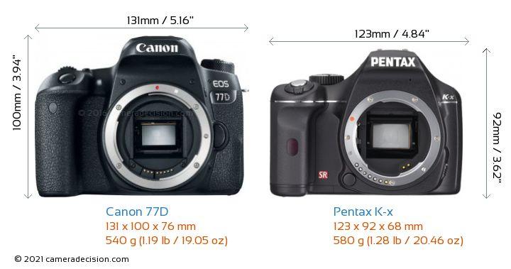 Canon 77D vs Pentax K-x Camera Size Comparison - Front View