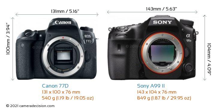 Canon 77D vs Sony A99 II Camera Size Comparison - Front View