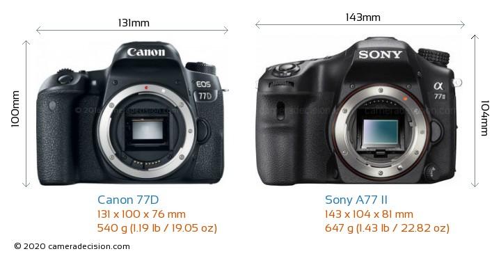 Canon 77D vs Sony A77 II Camera Size Comparison - Front View