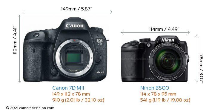 Canon 7D MII vs Nikon B500 Camera Size Comparison - Front View