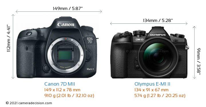 Canon 7D MII vs Olympus E-M1 II Camera Size Comparison - Front View