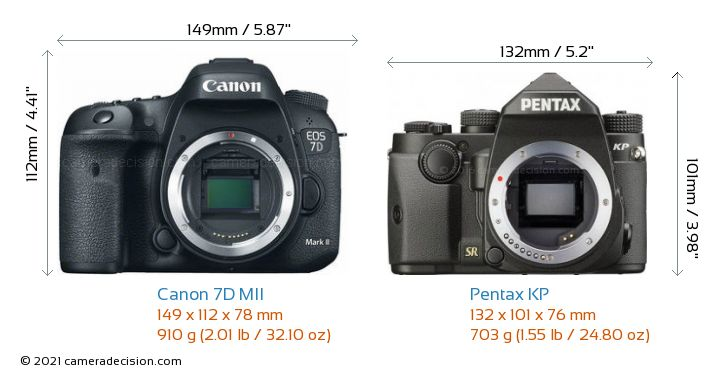 Canon 7D MII vs Pentax KP Camera Size Comparison - Front View