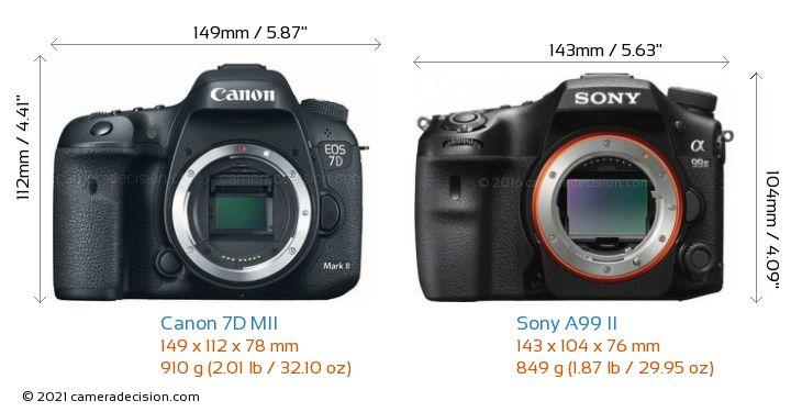 Canon 7D MII vs Sony A99 II Camera Size Comparison - Front View