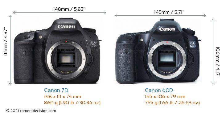 Canon 7D vs Canon 60D Camera Size Comparison - Front View