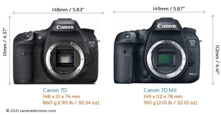 Canon 7D vs Canon 7D MII Camera Size Comparison - Front View