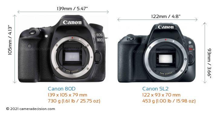Canon 80D vs Canon SL2 Camera Size Comparison - Front View