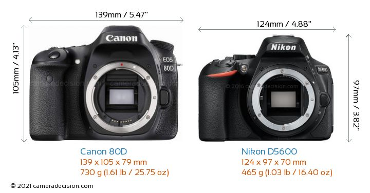 Canon 80D vs Nikon D5600 Camera Size Comparison - Front View