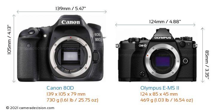 Canon 80D vs Olympus E-M5 II Camera Size Comparison - Front View