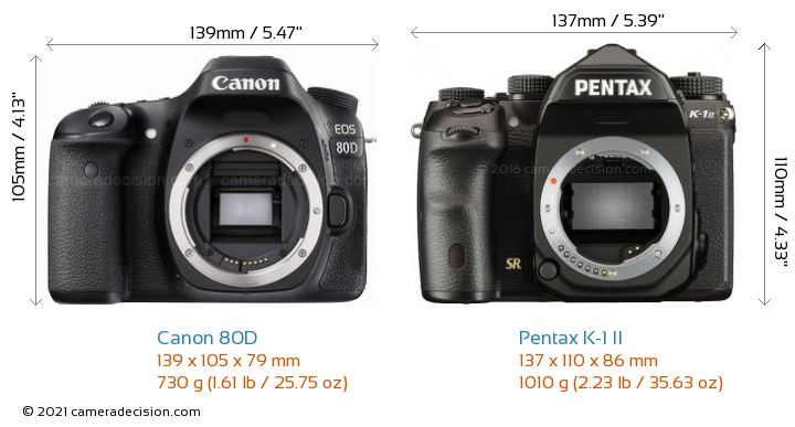 Canon 80D vs Pentax K-1 II Camera Size Comparison - Front View