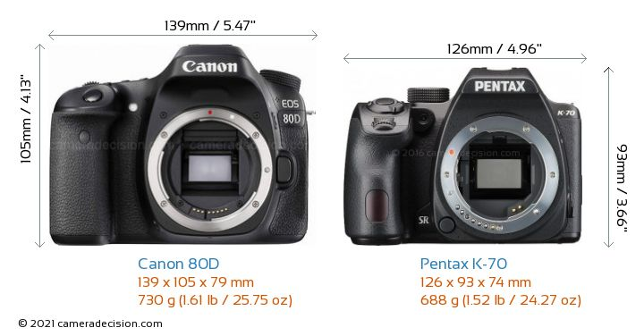 Canon 80D vs Pentax K-70 Camera Size Comparison - Front View