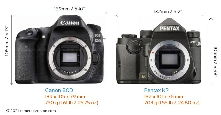 Canon 80D vs Pentax KP Camera Size Comparison - Front View