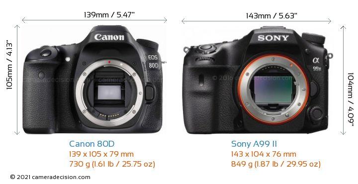 Canon 80D vs Sony A99 II Camera Size Comparison - Front View