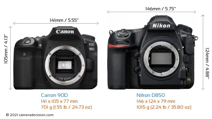 Canon 90D vs Nikon D850 Camera Size Comparison - Front View