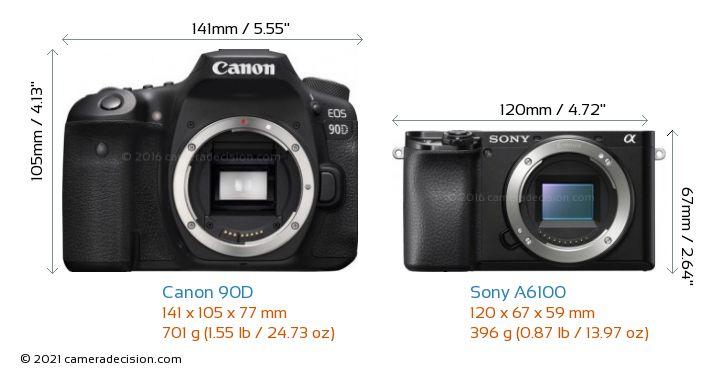 Canon 90D vs Sony A6100 Camera Size Comparison - Front View