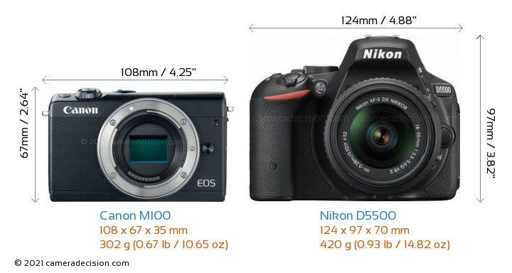 Canon M100 vs Nikon D5500 Camera Size Comparison - Front View