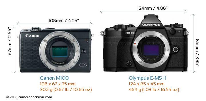 Canon M100 vs Olympus E-M5 II Camera Size Comparison - Front View