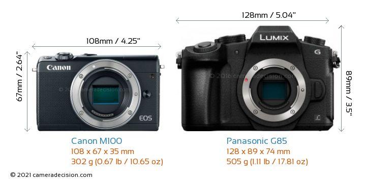 Canon M100 vs Panasonic G85 Camera Size Comparison - Front View