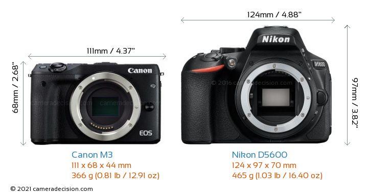 Canon M3 vs Nikon D5600 Camera Size Comparison - Front View