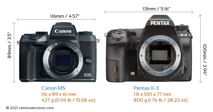 Canon M5 vs Pentax K-3 Camera Size Comparison - Front View