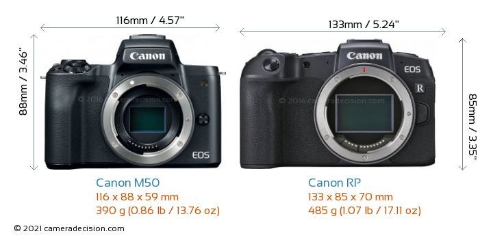 Canon M50 vs Canon RP Camera Size Comparison - Front View