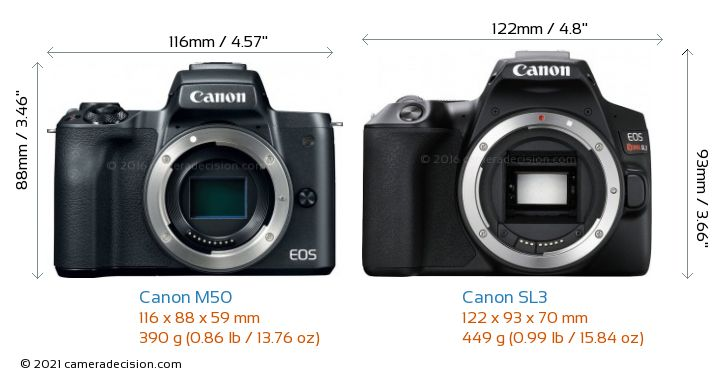 Canon M50 vs Canon SL3 Camera Size Comparison - Front View