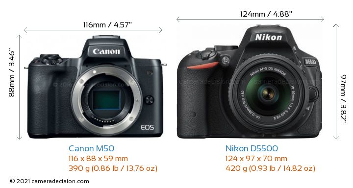 Canon M50 vs Nikon D5500 Camera Size Comparison - Front View