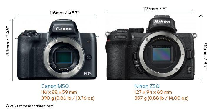 Canon M50 vs Nikon Z50 Camera Size Comparison - Front View