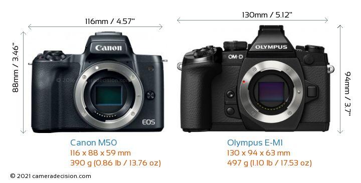Canon M50 vs Olympus E-M1 Camera Size Comparison - Front View